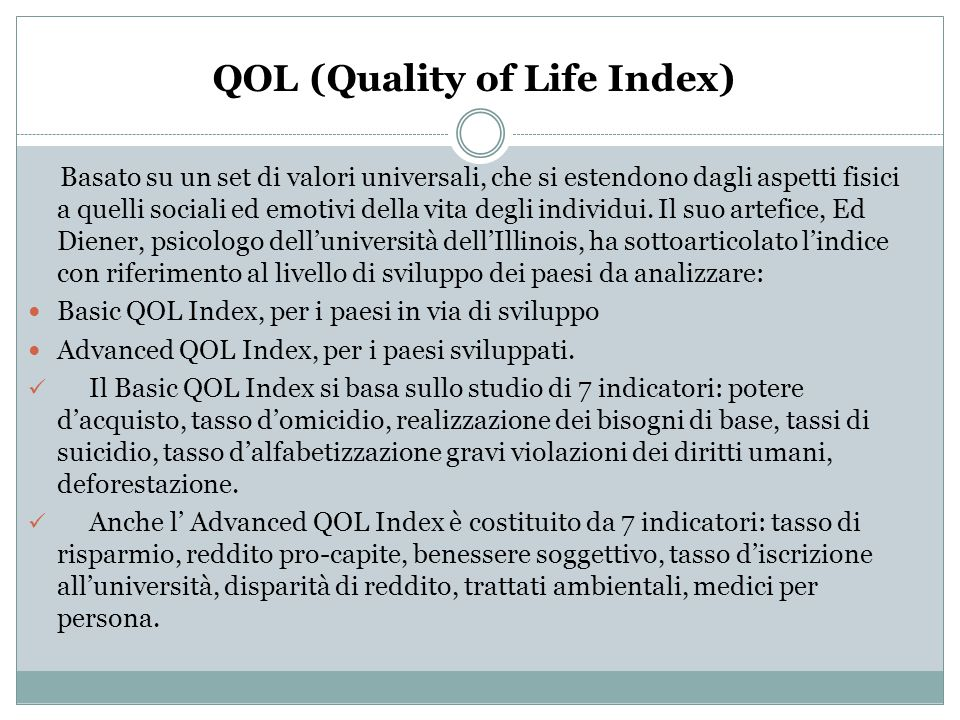QOL (Quality of Life Index)
