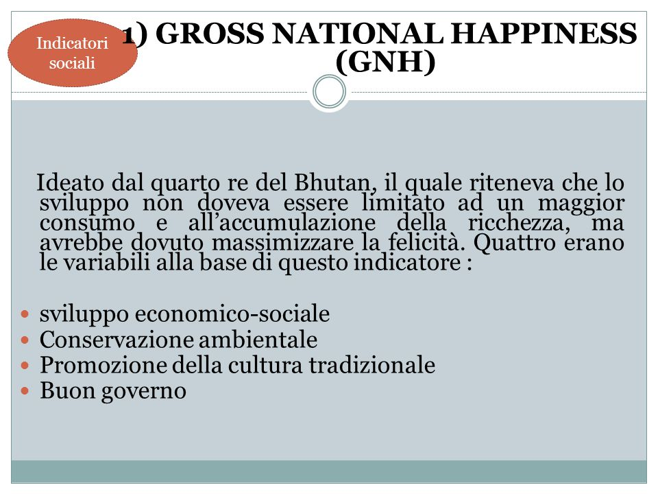 1) GROSS NATIONAL HAPPINESS (GNH)