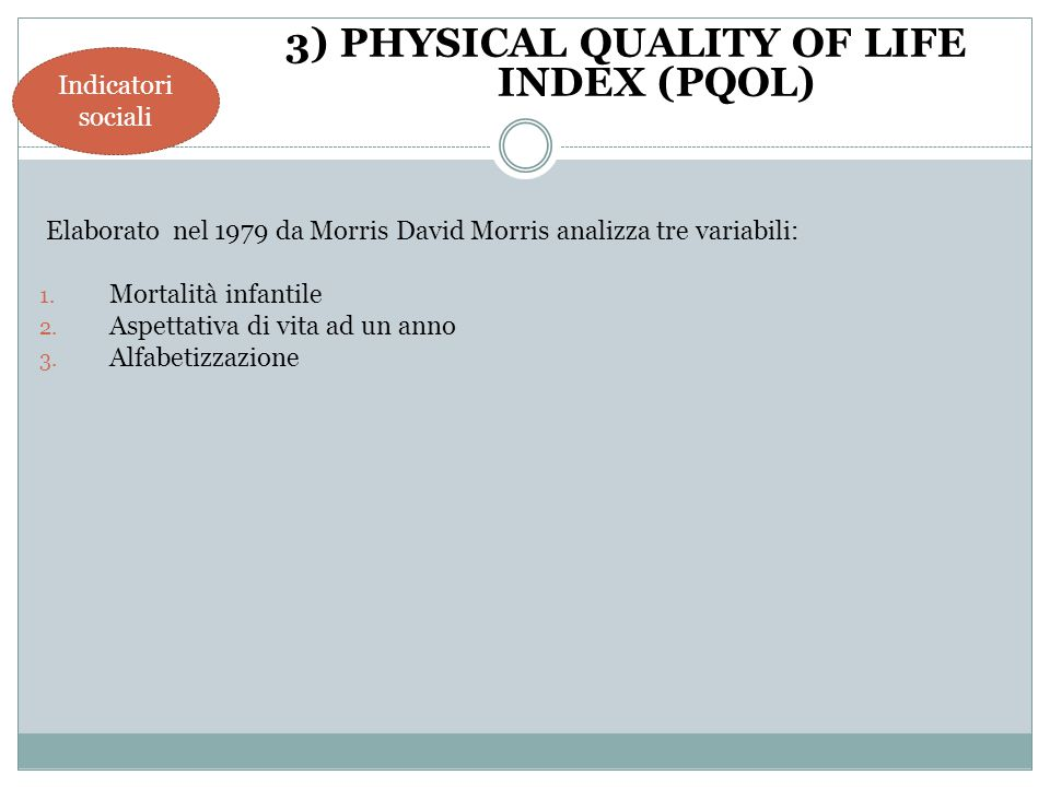 3) PHYSICAL QUALITY OF LIFE INDEX (PQOL)