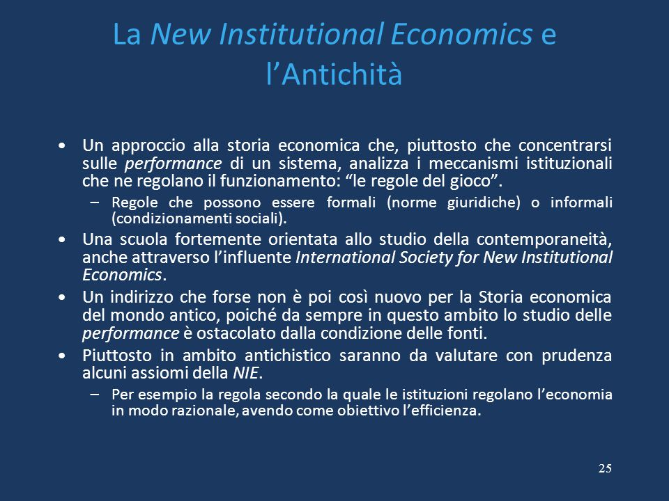 La New Institutional Economics e l'Antichità