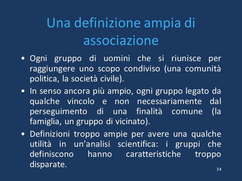 Una definizione ampia di associazione
