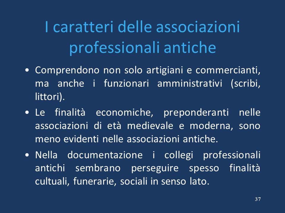 I caratteri delle associazioni professionali antiche