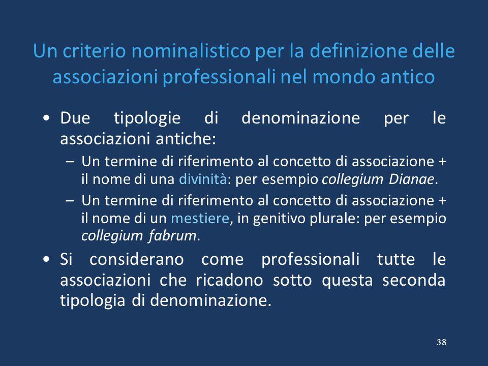 Un criterio nominalistico per la definizione delle associazioni professionali nel mondo antico
