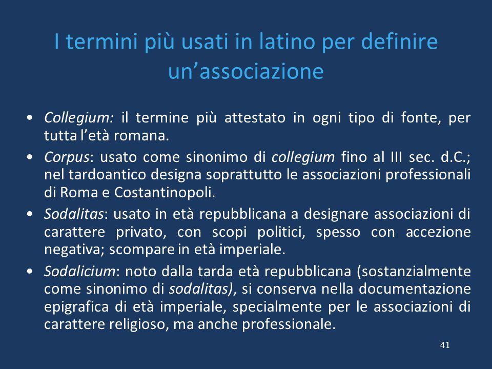 I termini più usati in latino per definire un'associazione