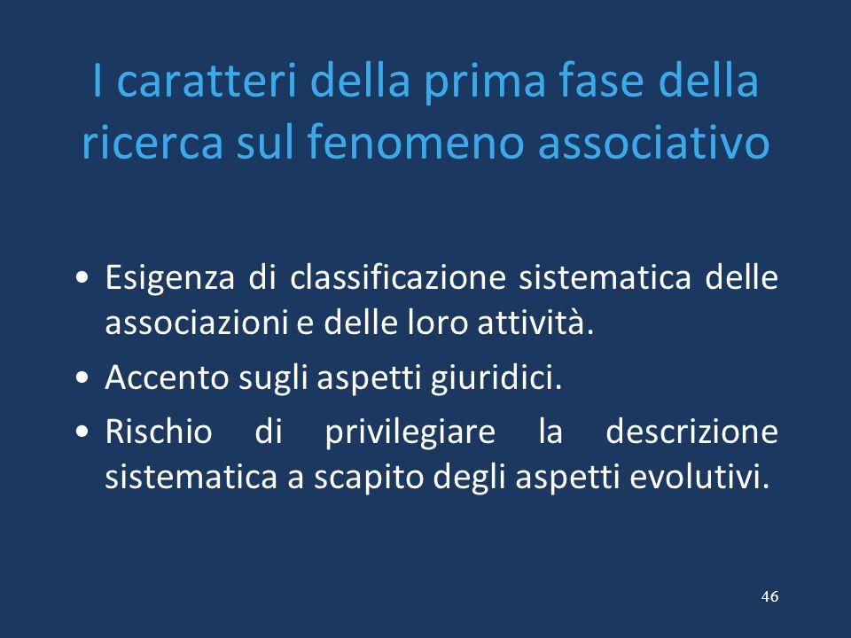I caratteri della prima fase della ricerca sul fenomeno associativo