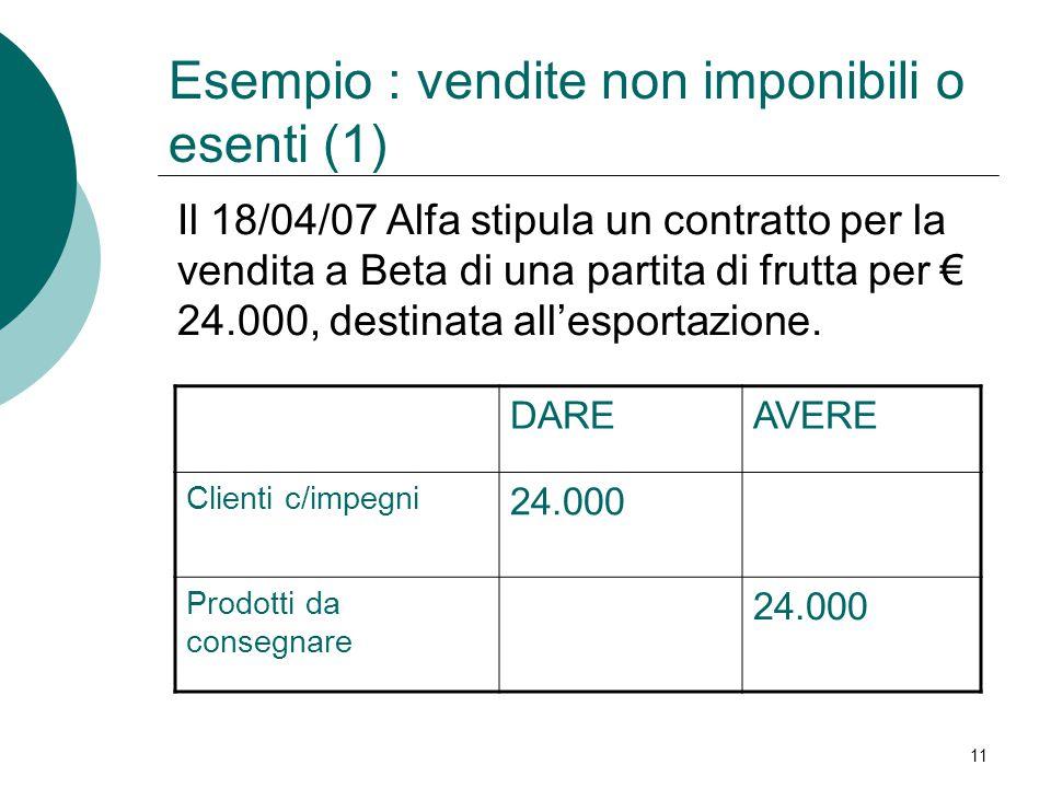 Esempio : vendite non imponibili o esenti (1)