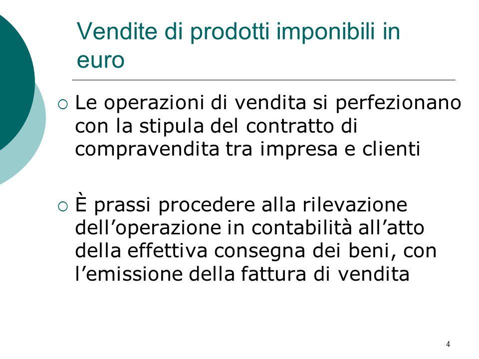 Vendite di prodotti imponibili in euro