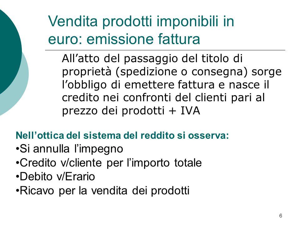 Vendita prodotti imponibili in euro: emissione fattura