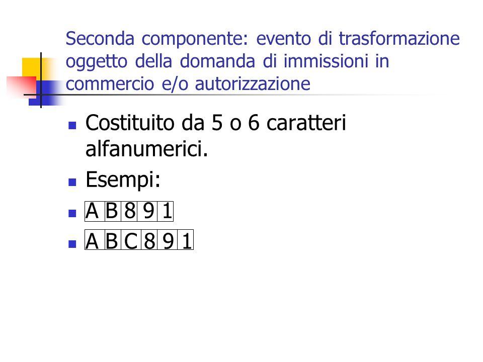 Costituito da 5 o 6 caratteri alfanumerici. Esempi: A B 8 9 1