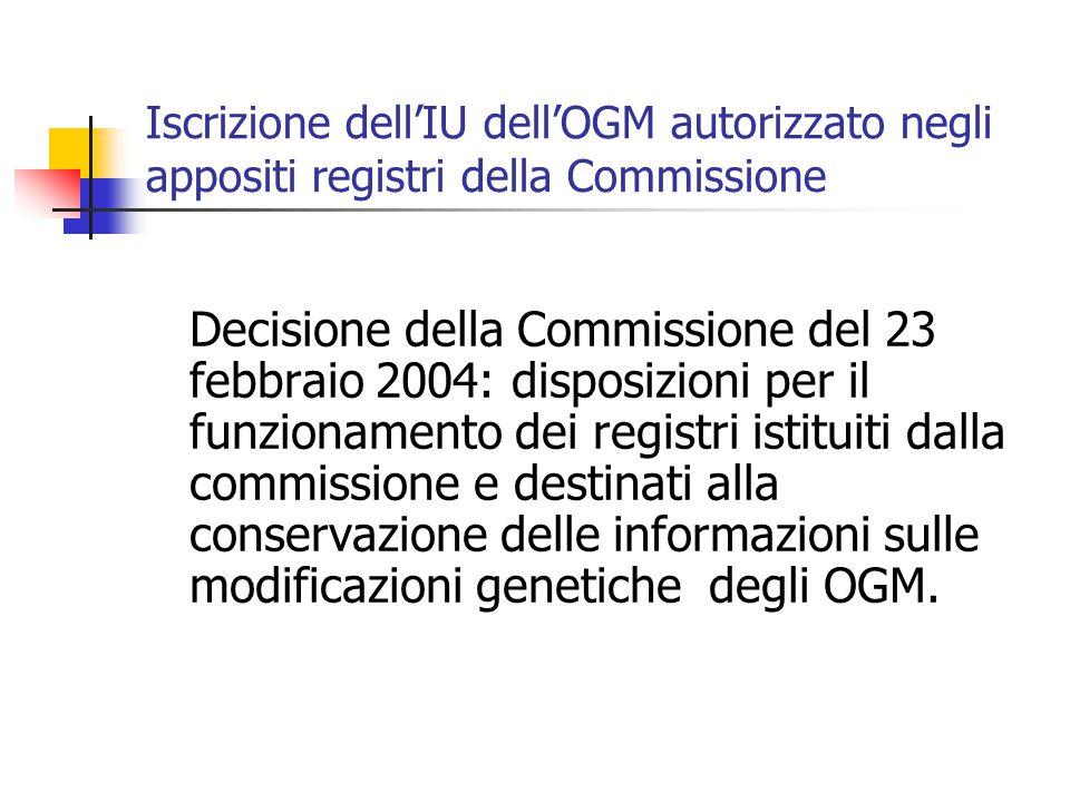 Iscrizione dell'IU dell'OGM autorizzato negli appositi registri della Commissione