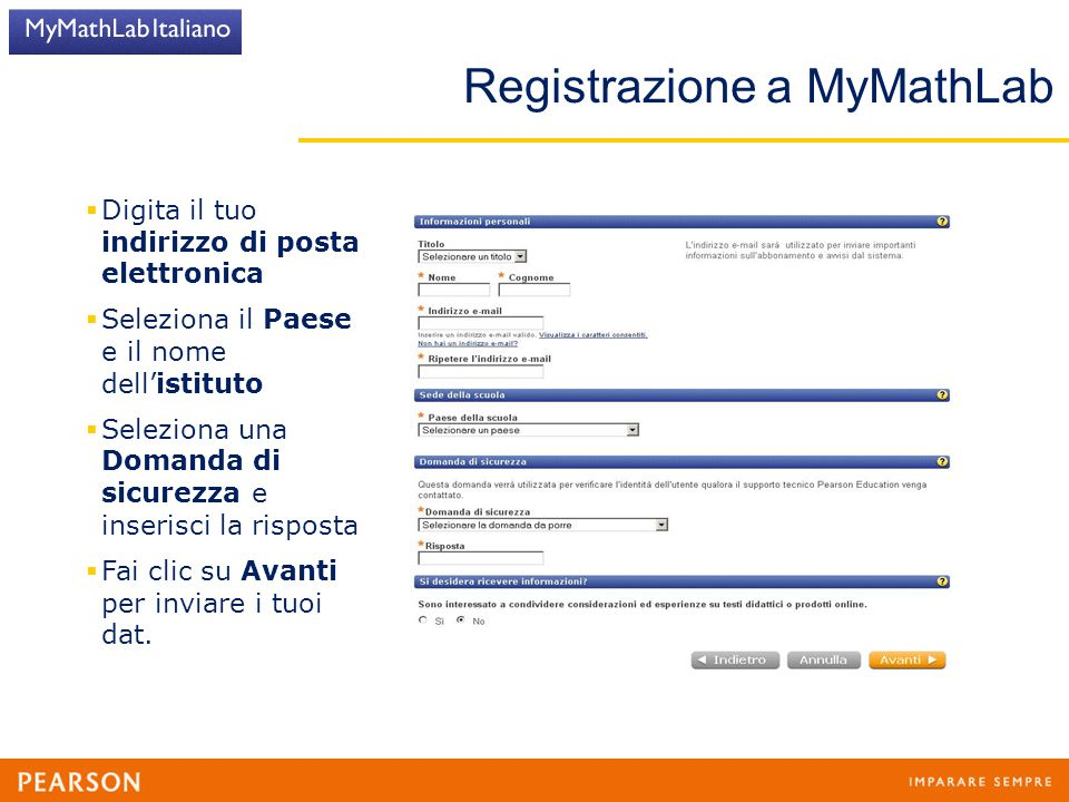 Registrazione a MyMathLab