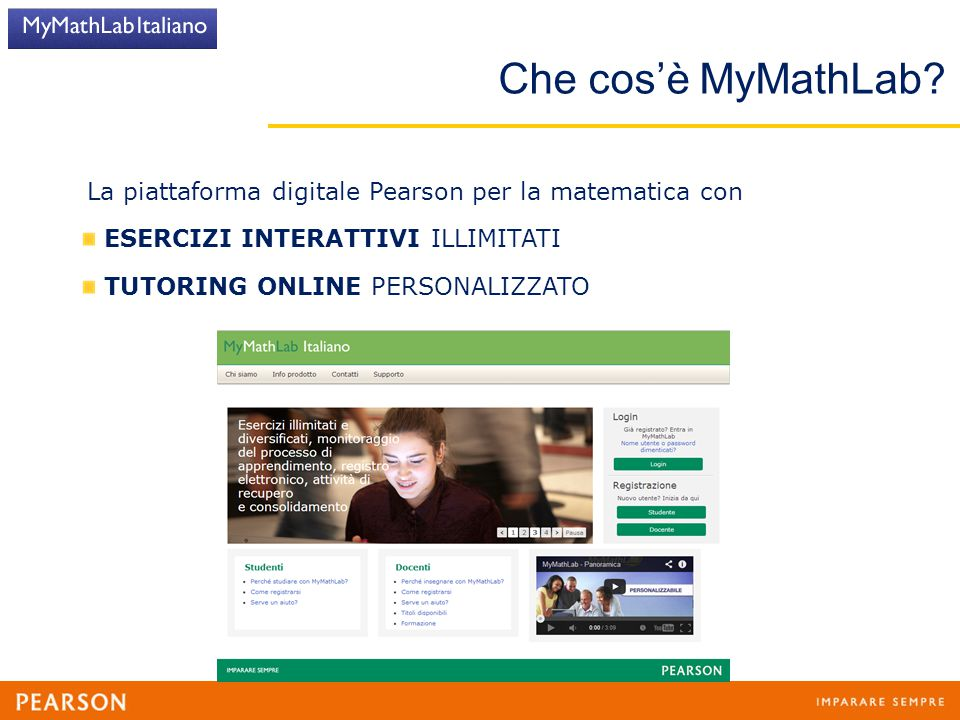 Che cos'è MyMathLab La piattaforma digitale Pearson per la matematica con. ESERCIZI INTERATTIVI ILLIMITATI.