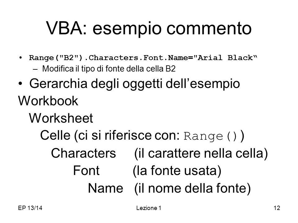 VBA: esempio commento Gerarchia degli oggetti dell'esempio Workbook
