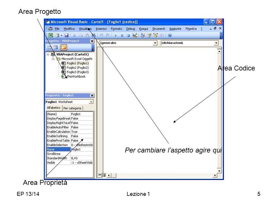 Ambiente di lavoro Area Progetto Area Codice