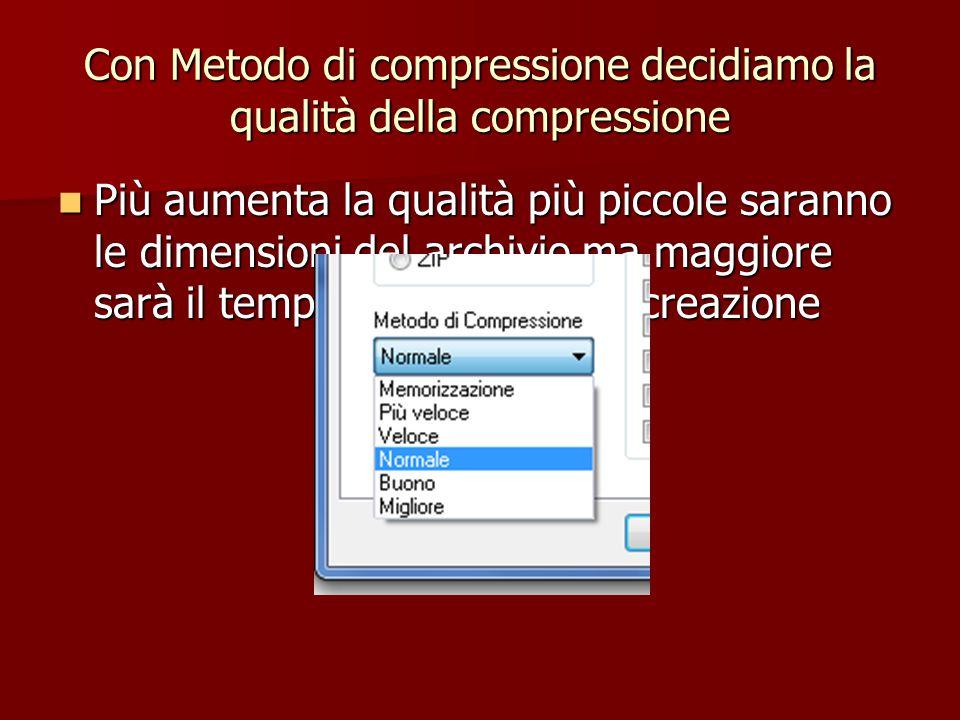 Con Metodo di compressione decidiamo la qualità della compressione