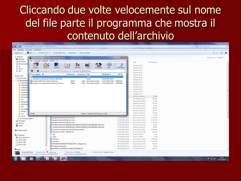 Cliccando due volte velocemente sul nome del file parte il programma che mostra il contenuto dell'archivio