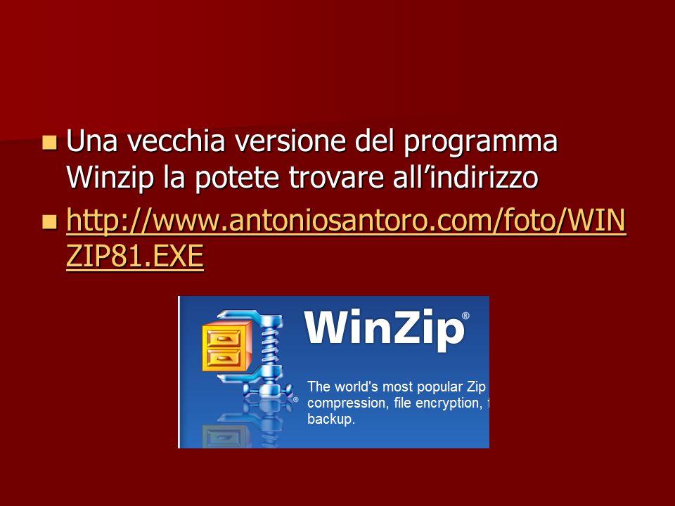 Una vecchia versione del programma Winzip la potete trovare all'indirizzo