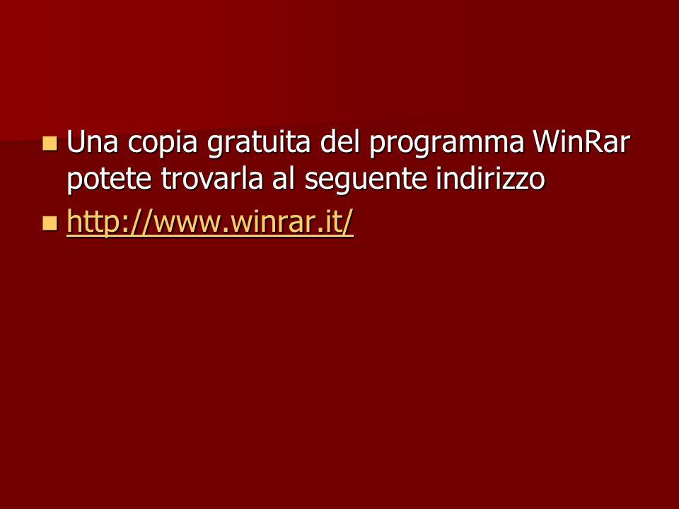 Una copia gratuita del programma WinRar potete trovarla al seguente indirizzo