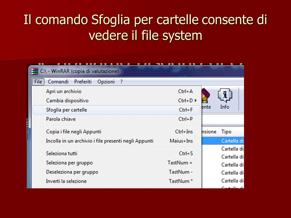 Il comando Sfoglia per cartelle consente di vedere il file system