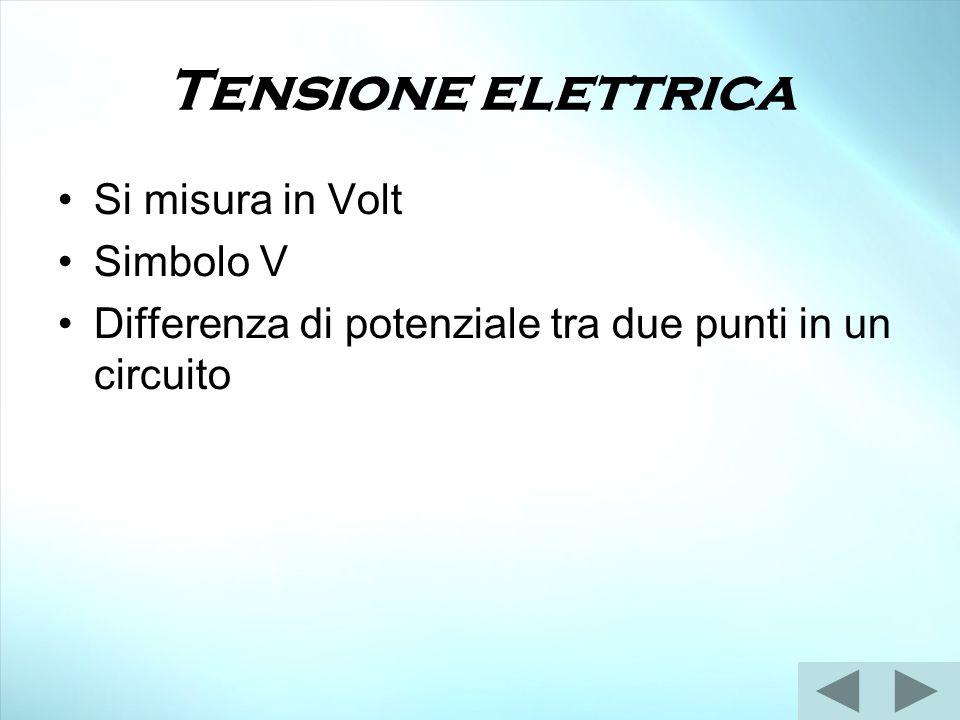 Tensione elettrica Si misura in Volt Simbolo V