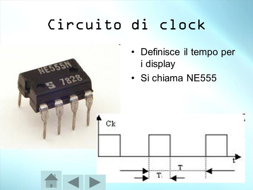 Circuito di clock Definisce il tempo per i display Si chiama NE555