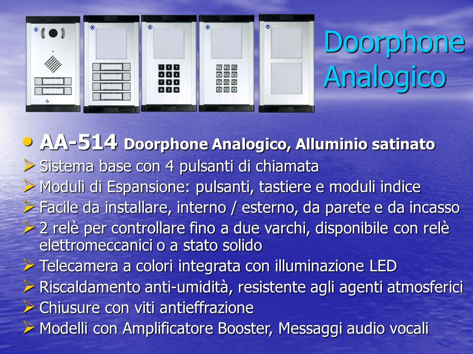 Doorphone Analogico AA-514 Doorphone Analogico, Alluminio satinato