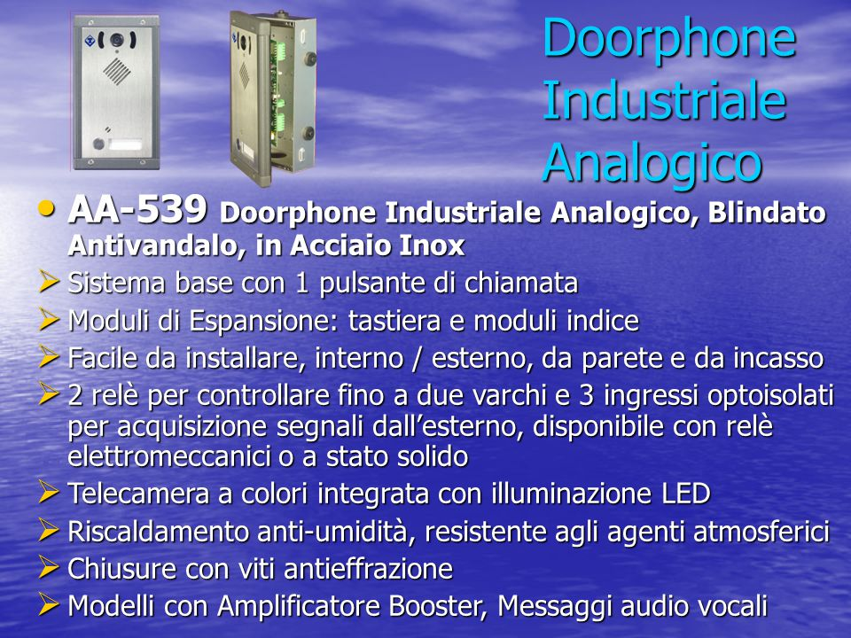 Doorphone Industriale Analogico
