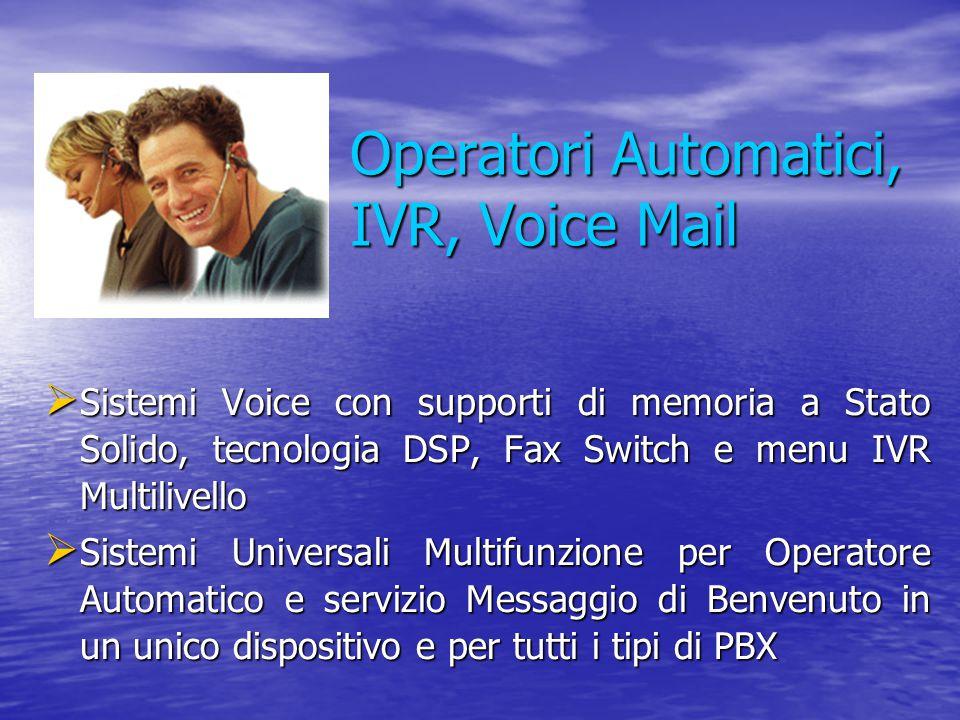 Operatori Automatici, IVR, Voice Mail