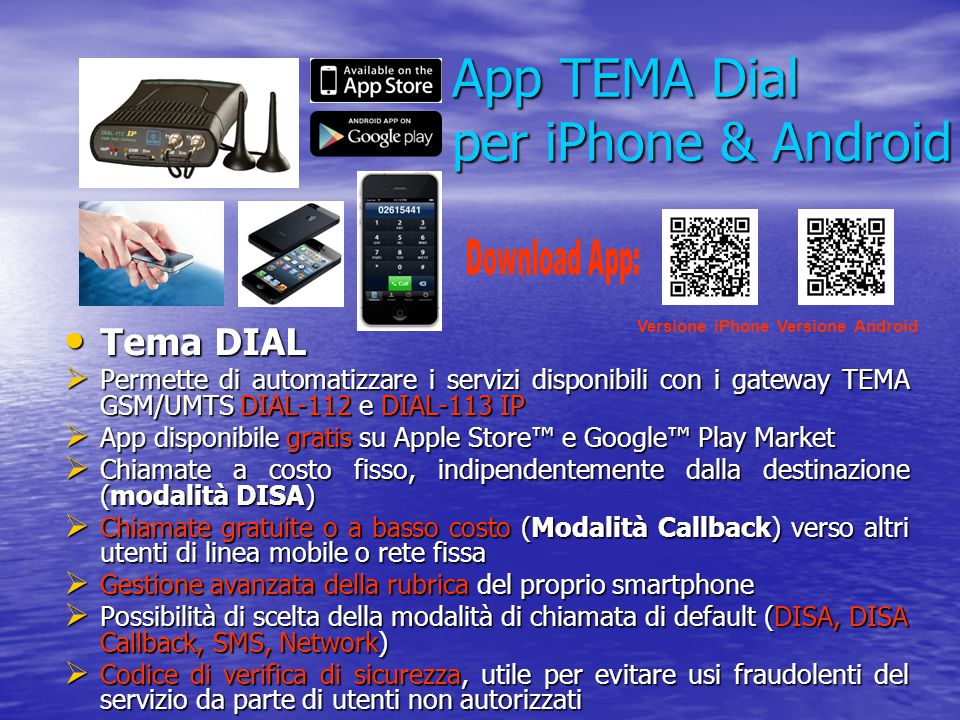 App TEMA Dial per iPhone & Android