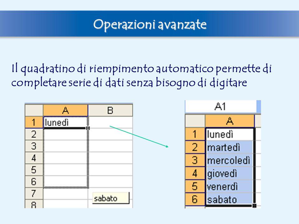 Operazioni avanzate Il quadratino di riempimento automatico permette di completare serie di dati senza bisogno di digitare.
