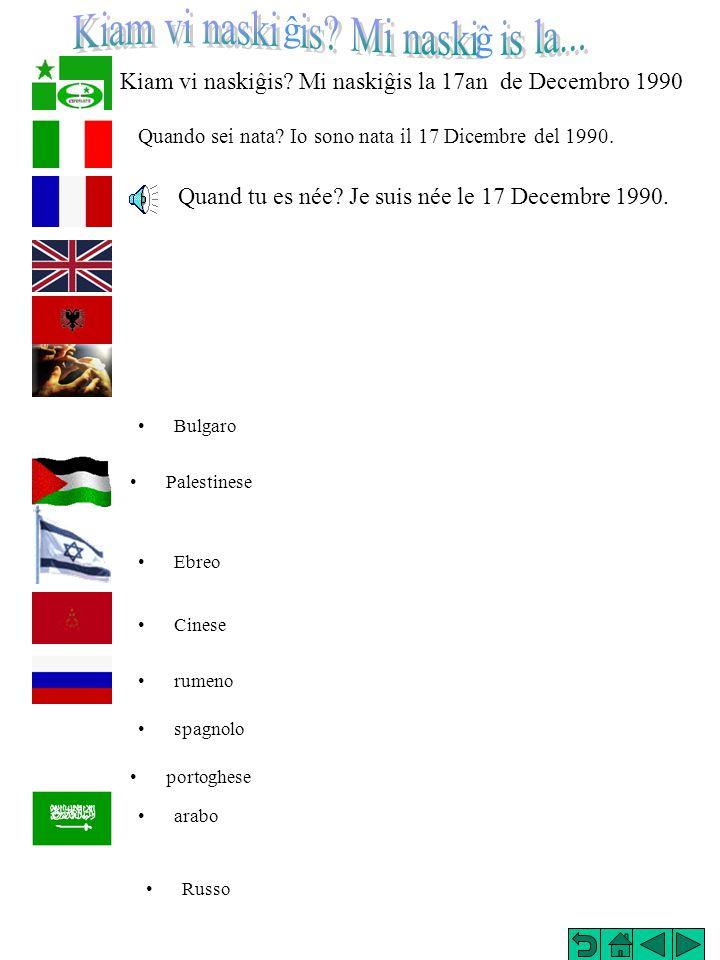 Kiam vi naskiĝis Mi naskiĝis la 17an de Decembro 1990