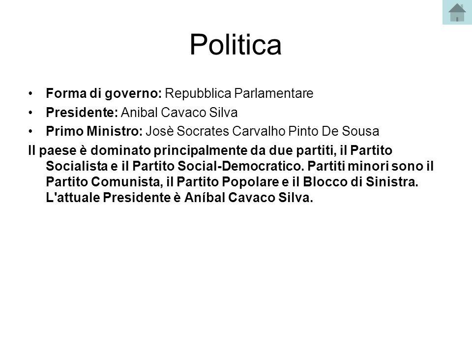 Politica Forma di governo: Repubblica Parlamentare