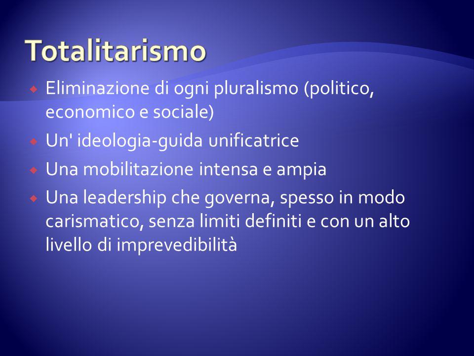 Totalitarismo Eliminazione di ogni pluralismo (politico, economico e sociale) Un ideologia-guida unificatrice.