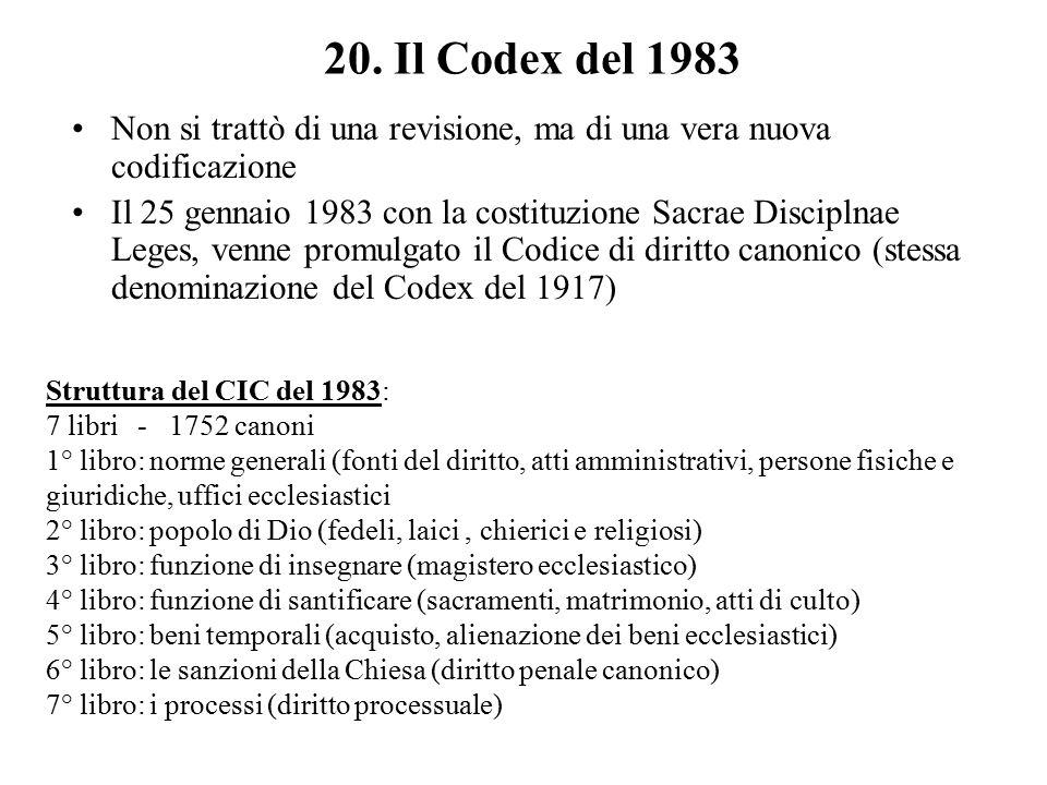 20. Il Codex del 1983 Non si trattò di una revisione, ma di una vera nuova codificazione.