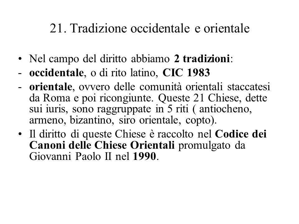 21. Tradizione occidentale e orientale