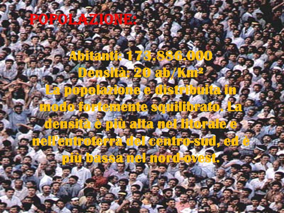 POPOLAZIONE: Abitanti: 173.886.000 Densità: 20 ab/Km²