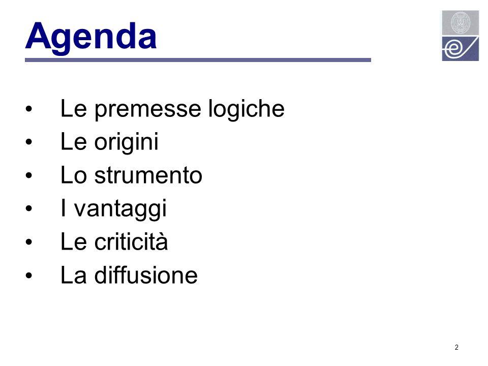 Agenda Le premesse logiche Le origini Lo strumento I vantaggi