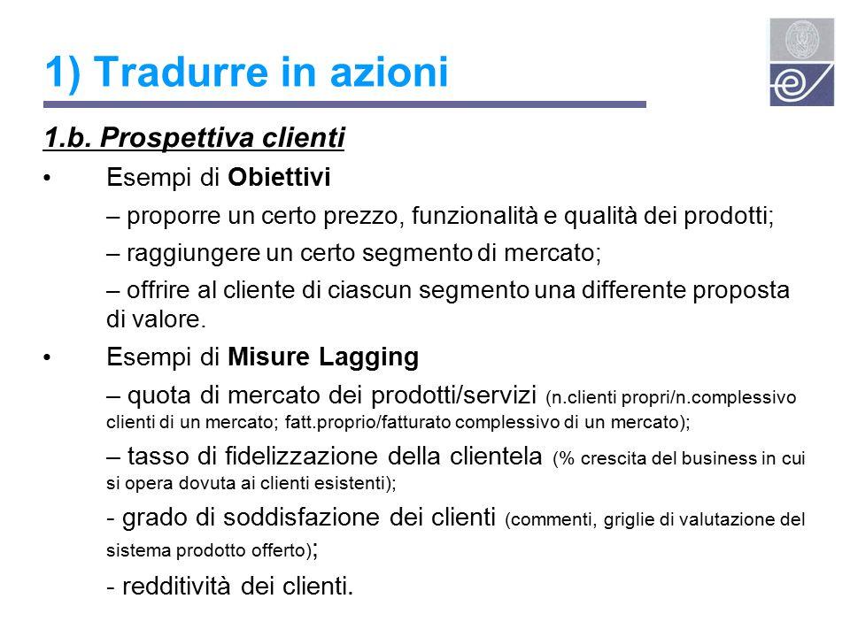 1) Tradurre in azioni 1.b. Prospettiva clienti Esempi di Obiettivi
