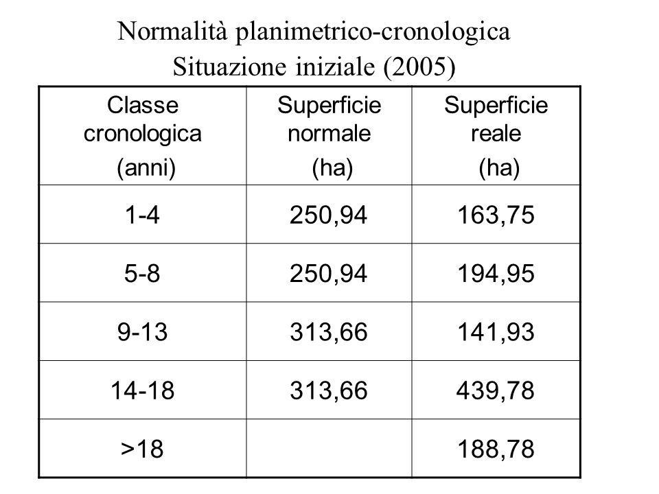 Normalità planimetrico-cronologica Situazione iniziale (2005)