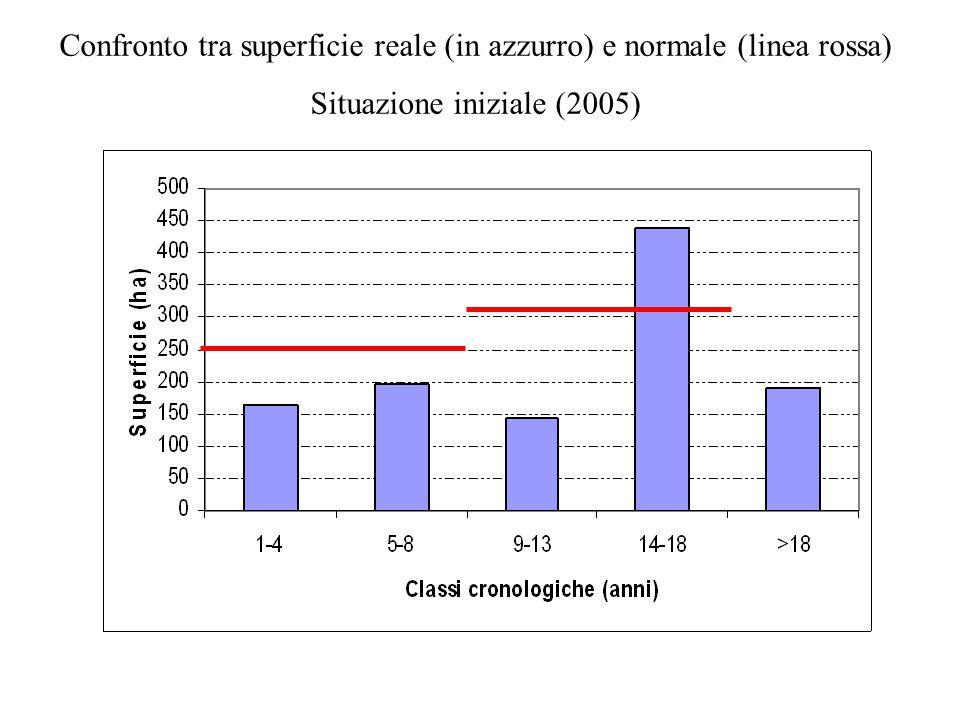 Confronto tra superficie reale (in azzurro) e normale (linea rossa)