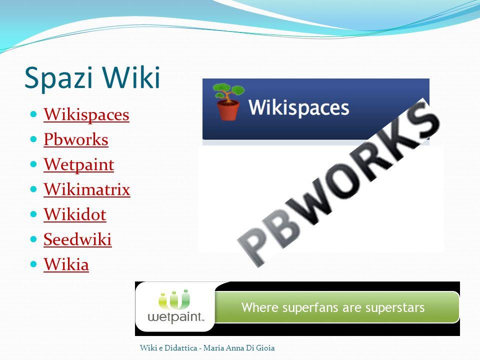 Spazi Wiki Wikispaces Pbworks Wetpaint Wikimatrix Wikidot Seedwiki