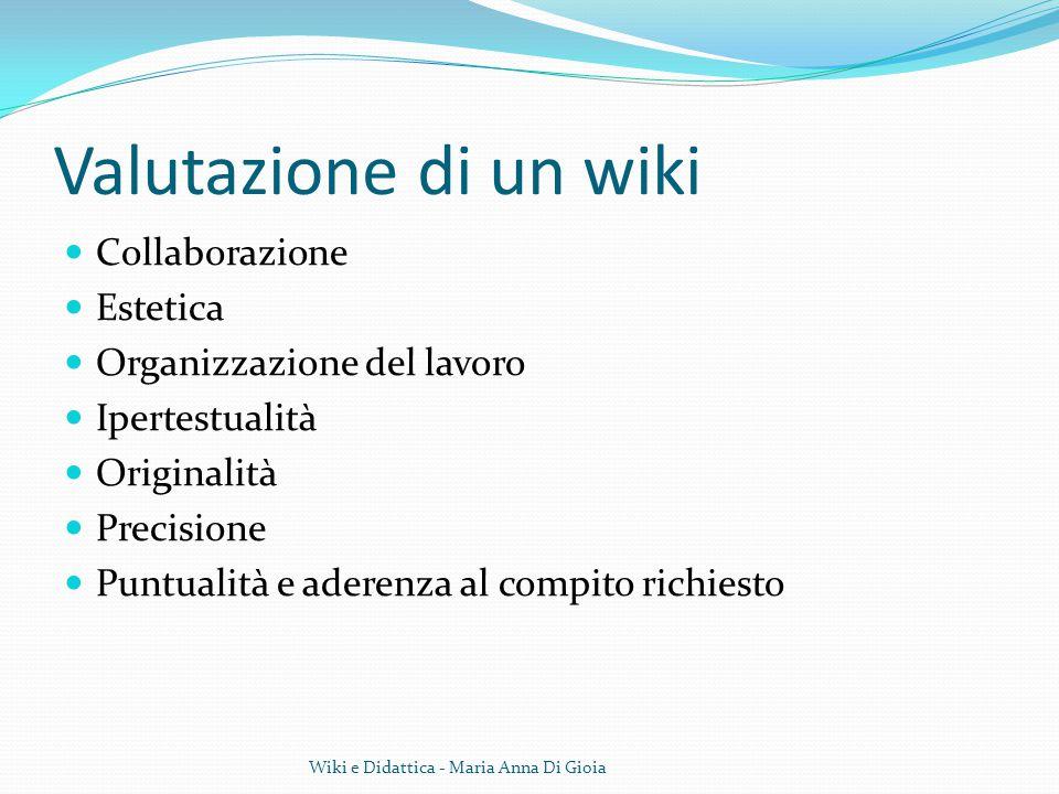 Valutazione di un wiki Collaborazione Estetica
