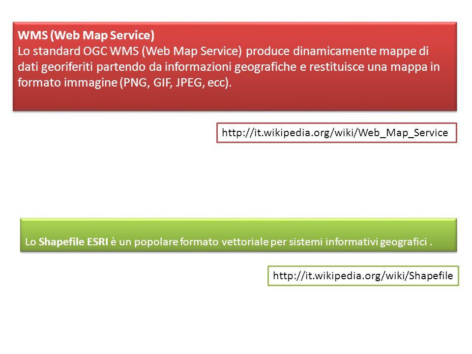 WMS (Web Map Service) Lo standard OGC WMS (Web Map Service) produce dinamicamente mappe di dati georiferiti partendo da informazioni geografiche e restituisce una mappa in formato immagine (PNG, GIF, JPEG, ecc).