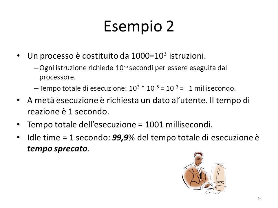Esempio 2 Un processo è costituito da 1000=103 istruzioni.