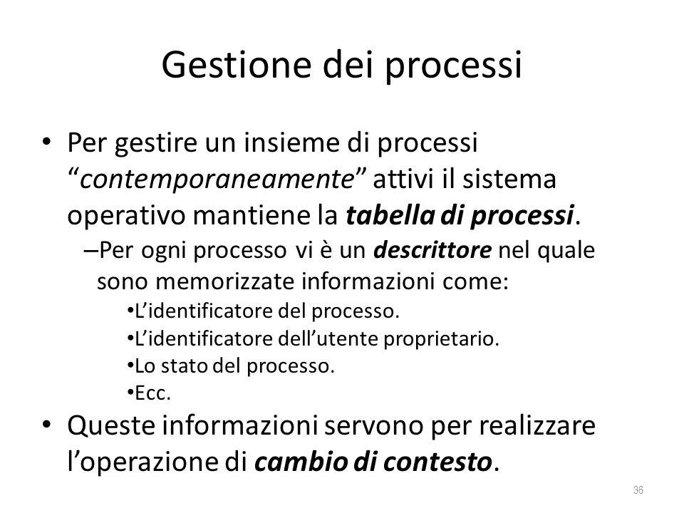 Gestione dei processi Per gestire un insieme di processi contemporaneamente attivi il sistema operativo mantiene la tabella di processi.