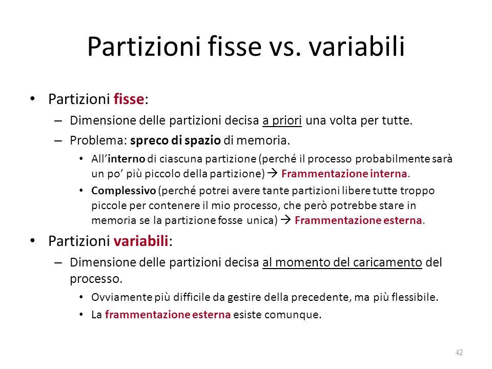 Partizioni fisse vs. variabili