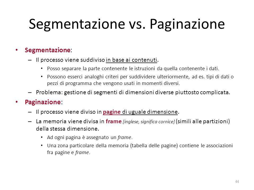 Segmentazione vs. Paginazione