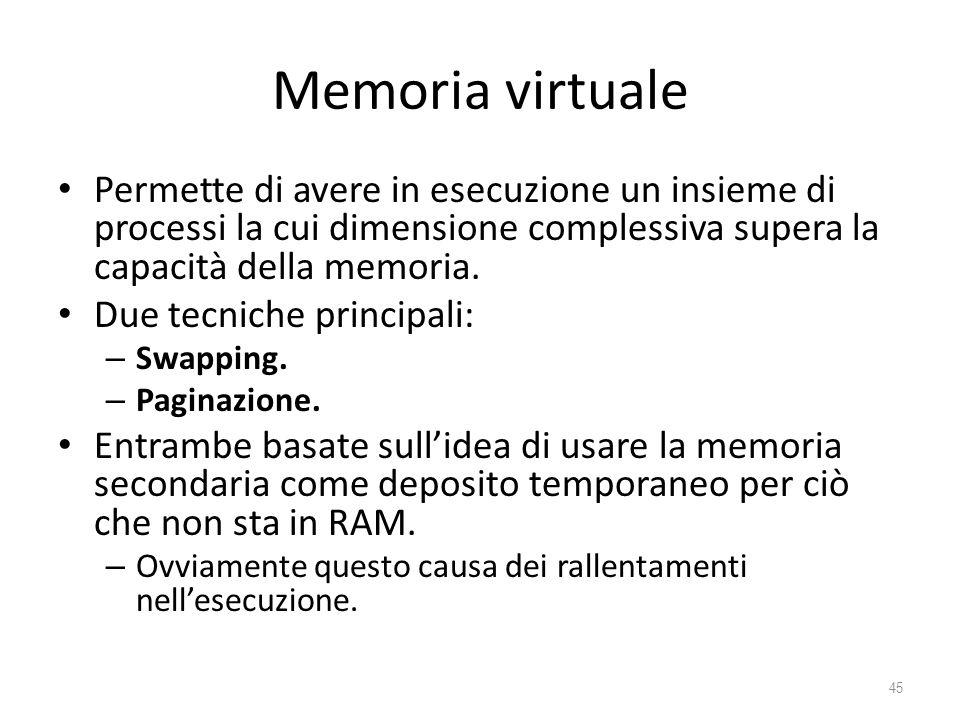 Memoria virtuale Permette di avere in esecuzione un insieme di processi la cui dimensione complessiva supera la capacità della memoria.