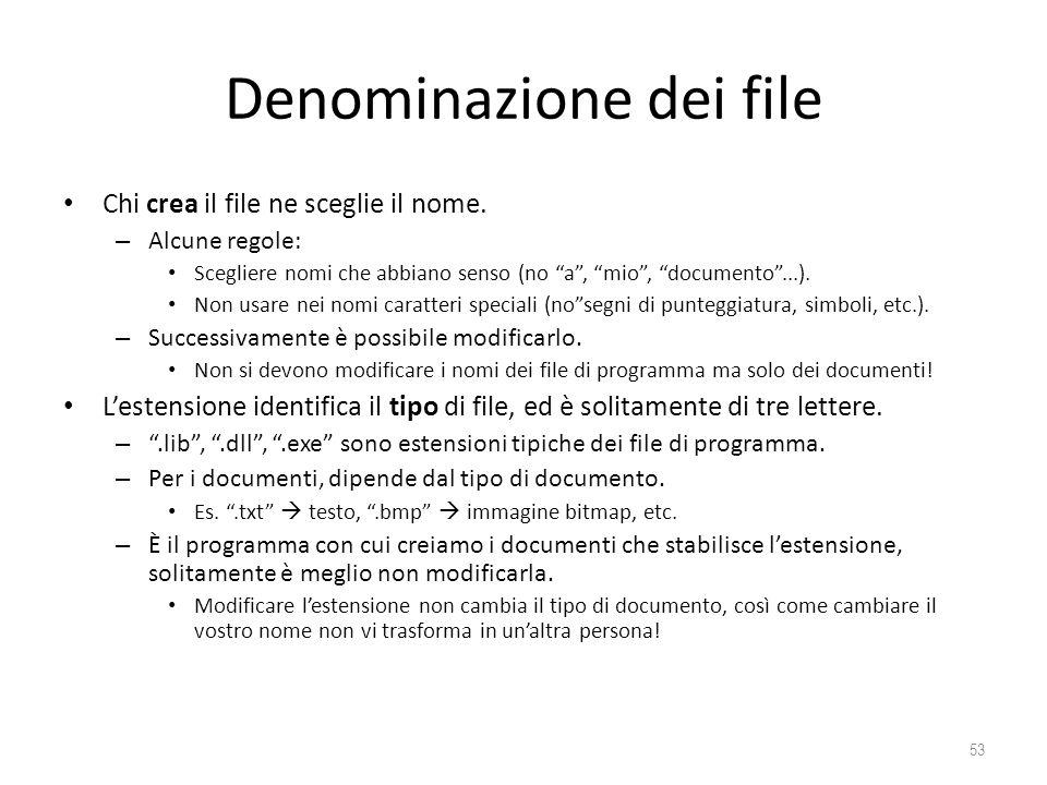 Denominazione dei file