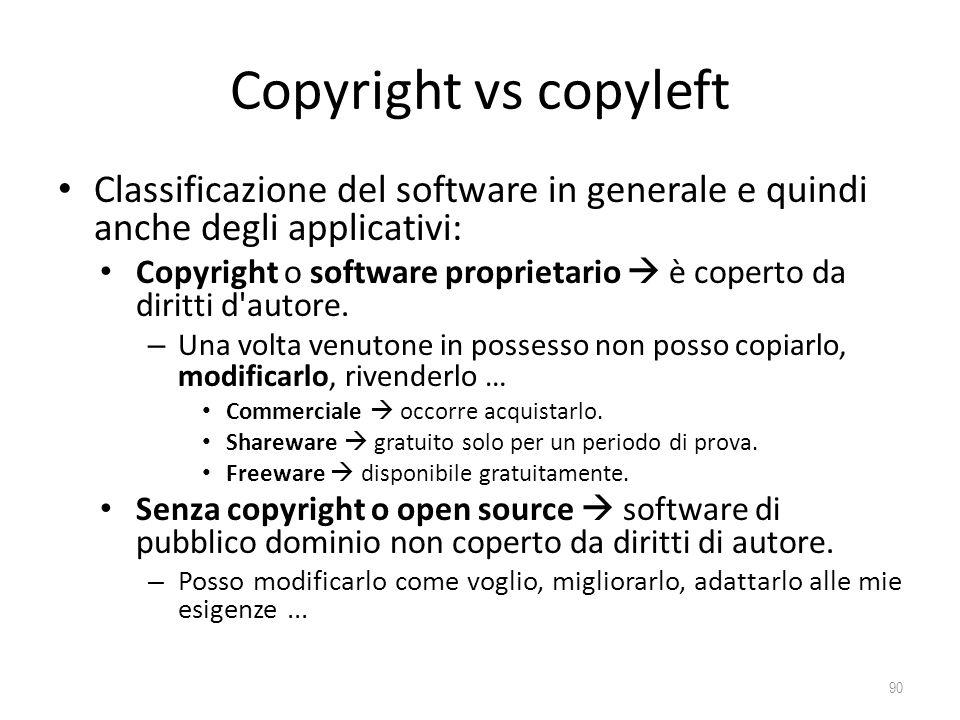 Copyright vs copyleft Classificazione del software in generale e quindi anche degli applicativi: